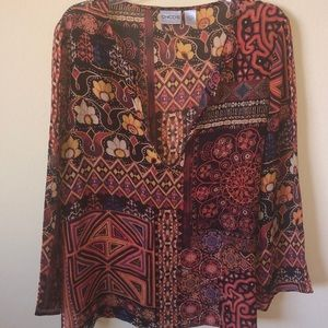 Chico's 100% Silk Tribal Print Blouse